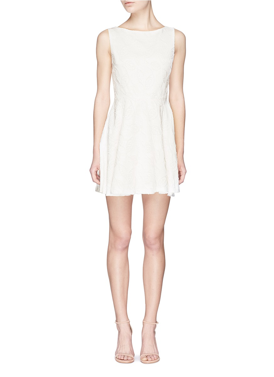 ALICE AND OLIVIA 'Ommi' Textured Leaf Motif Sateen A-Line Dress at Lane Crawford