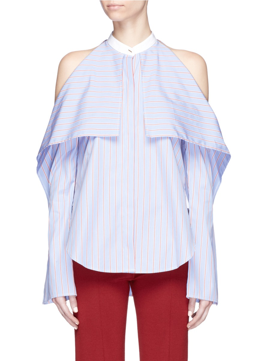 ROSETTA GETTY Cold-Shoulder Striped Cotton-Poplin Blouse at Lane Crawford