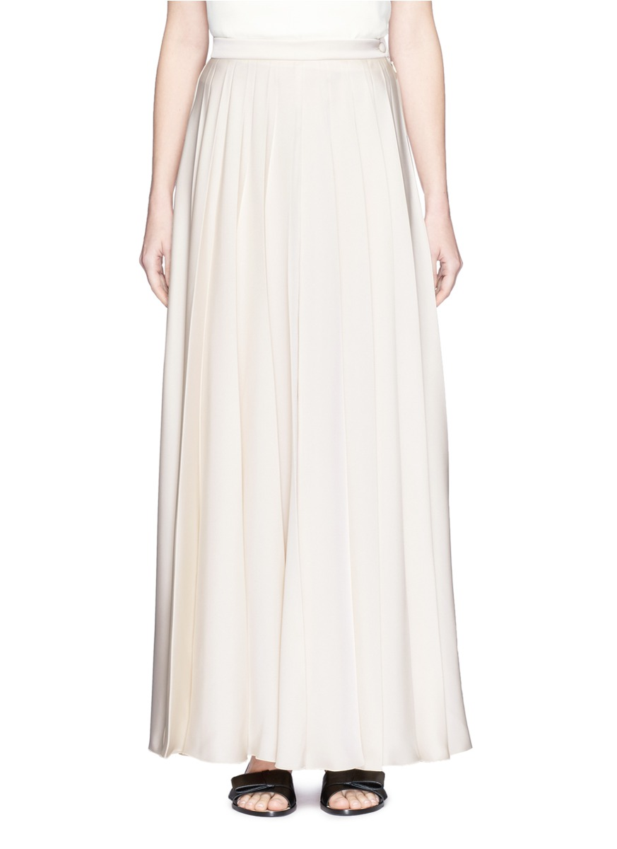 LANVIN Pleated Fluid Cady Long Skirt, Ivory at Lane Crawford
