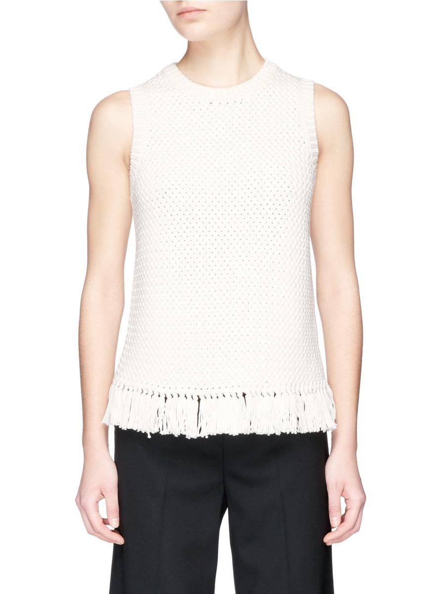 THEORY Meenara Crosshatched Knit Tank Sweater, White at Lane Crawford
