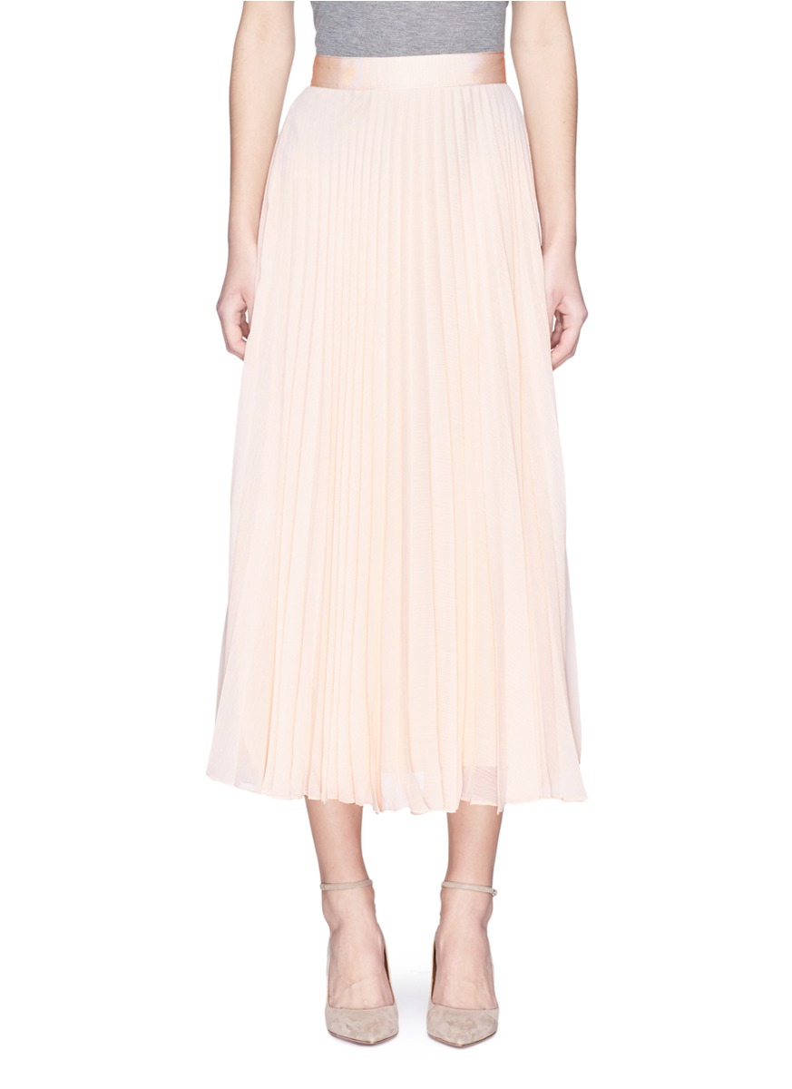 ALICE AND OLIVIA 'Essie' Pleated Crépon Midi Skirt at Lane Crawford