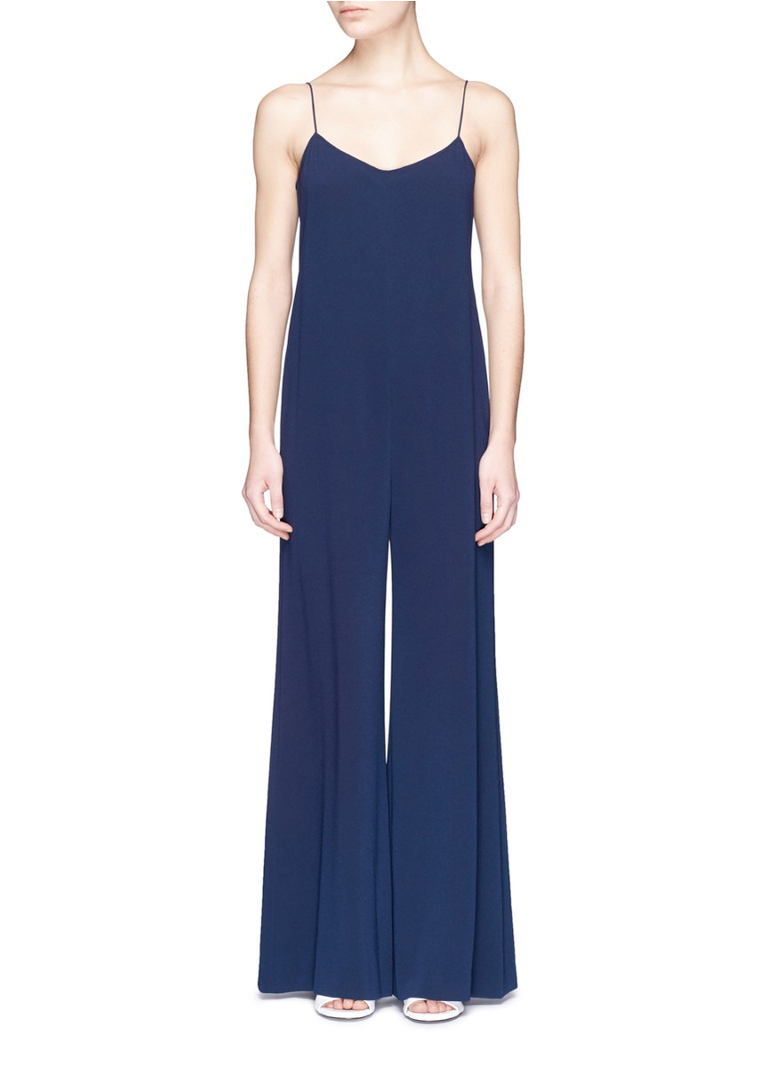 THEORY 'Binx' Wide Leg Crepe Camisole Jumpsuit