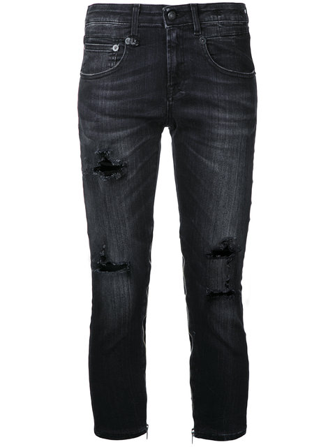 R13 Cropped Distressed Jeans