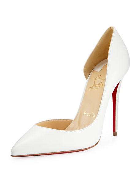 CHRISTIAN LOUBOUTIN Iriza Half-D'Orsay 100Mm Red Sole Pump, White in Indiana