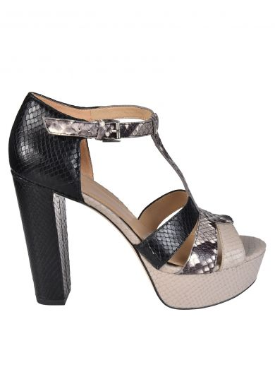 MICHAEL MICHAEL KORS Snakeskin Detail Platform Sandals in Nero/Naturale