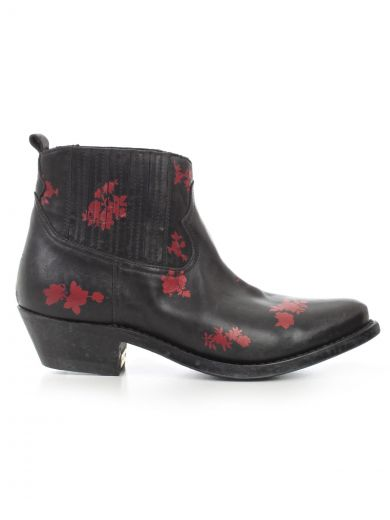 GOLDEN GOOSE Shoes in Cblack Leather Red Flowers