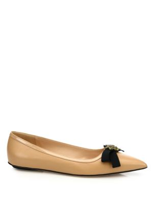 GUCCI Moody Bee Leather Skimmer Bow Flats at Saks Off 5TH
