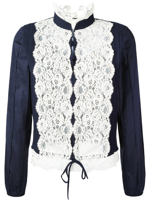 SEE BY CHLOÉ Long-Sleeve Pintucked Lace-Trim Blouse, Navy at Farfetch