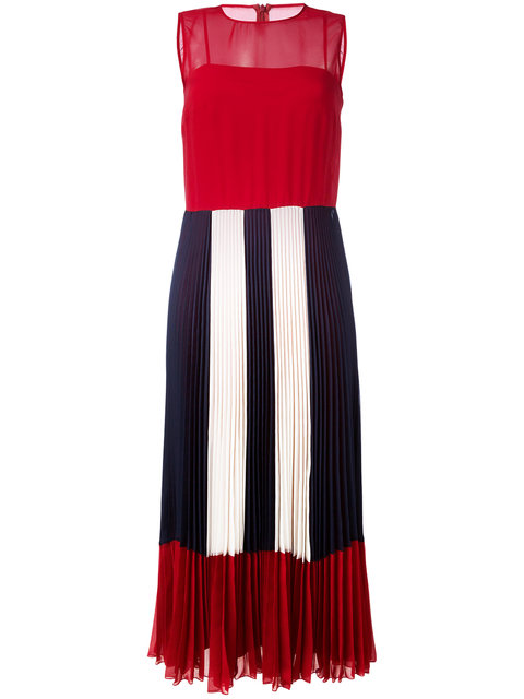RED VALENTINO Sheer Pleated Dress at Farfetch