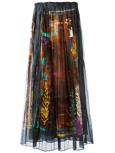 VALENTINO Print Pleated Skirt