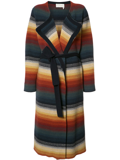 CHLOÉ Belted Stripe Cashmere Blend Coat at Farfetch