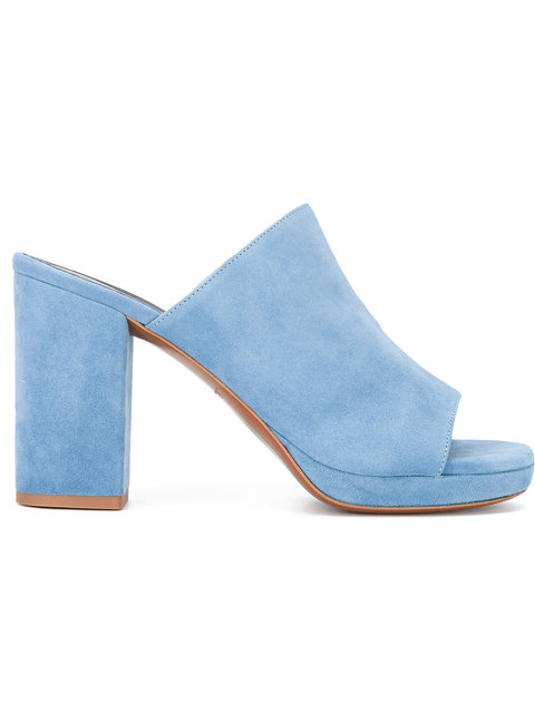 ROBERT CLERGERIE Blue Suede Abrice Mules