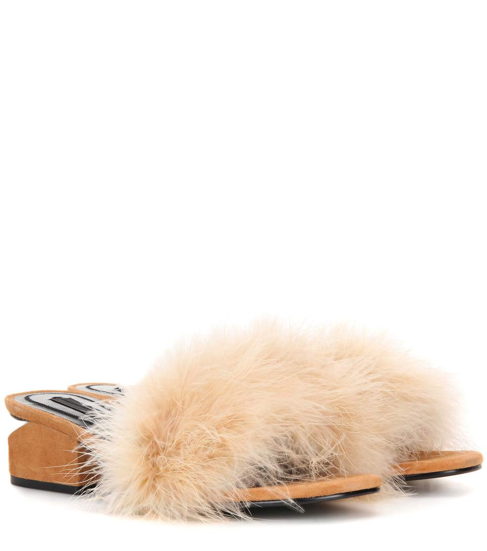 ALEXANDER WANG Lou Suede And Feather Slip-On Sandals at mytheresa.com