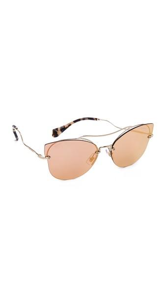 MIU MIU Scenique Rimless Mirrored Brow-Bar Sunglasses, Light Gold, Light Yellow