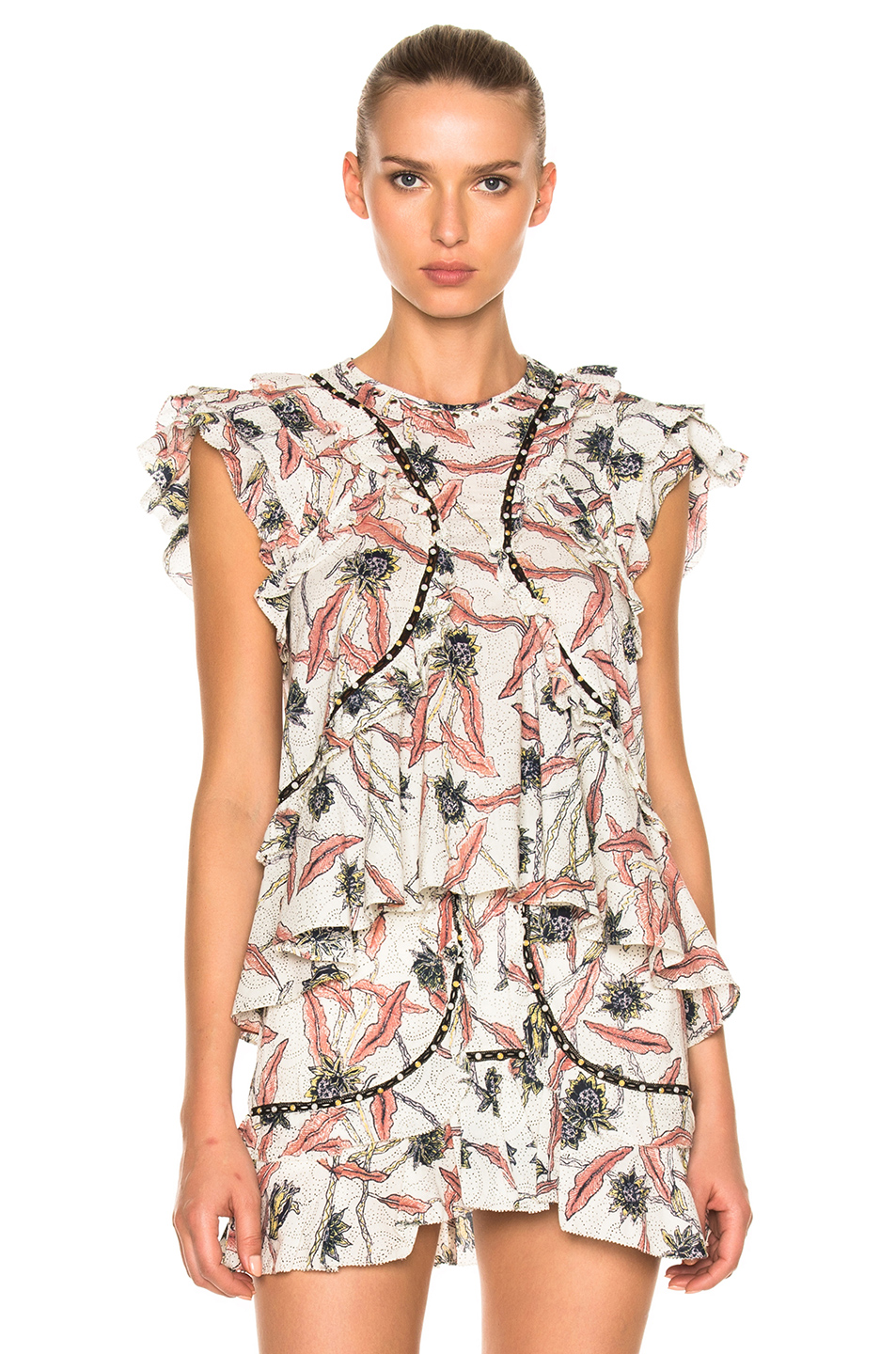 ISABEL MARANT Floral Printed Gauze Ruffled Top, Ecru at FORWARD