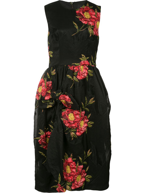 SIMONE ROCHA Floral-Cloqué Gathered Dress in Florals