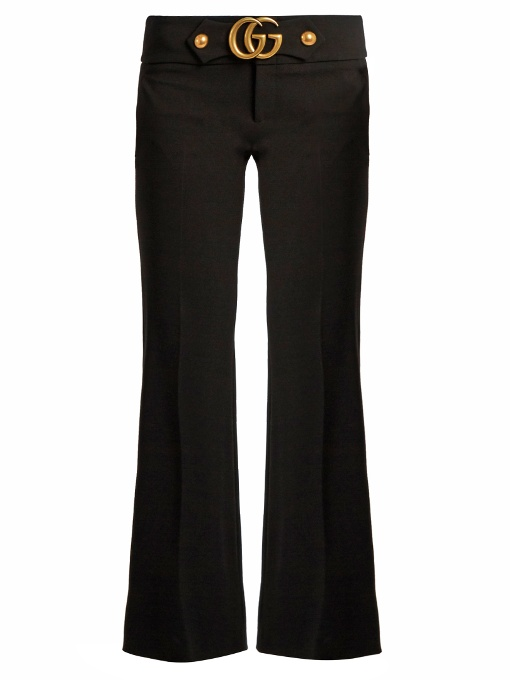 GUCCI Gg Stretch-Cady Kick-Flare Trousers at MATCHESFASHION.COM