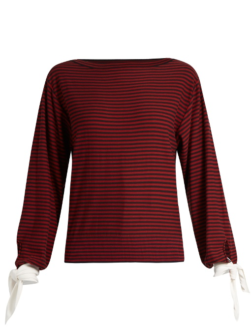 CHLOÉ Tie-Cuff Striped Cotton Top in Colour: Red And Black