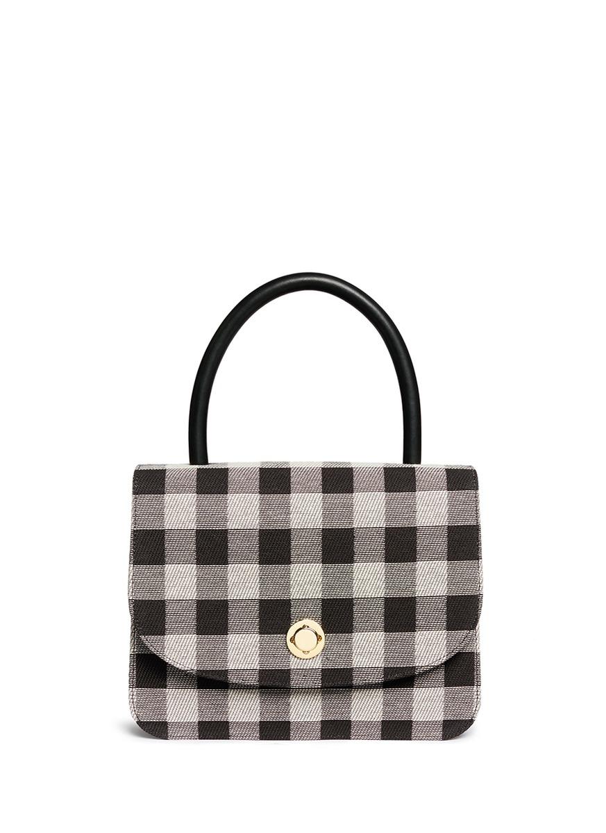 MANSUR GAVRIEL Metropolitan Gingham Top-Handle Bag, Black at Lane Crawford