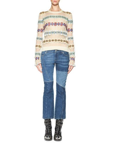 ALEXANDER MCQUEEN Lace Sweater With Fair Isle Insets, Multicolor at Neiman Marcus