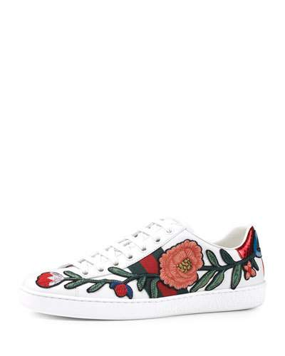 GUCCI New Ace Floral-Embroidered Low-Top Sneaker, White/Multi, Multi Colors at Neiman Marcus