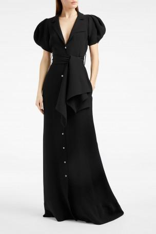 ROSIE ASSOULIN Puff Sleeve Silk-Crepe Gown in Black