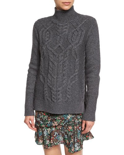 VERONICA BEARD Cable-Knit Turtleneck Wool-Blend Sweater, Charcoal