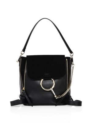 CHLOÉ Faye Medium Textured-Leather And Suede Backpack at Saks Fifth Avenue