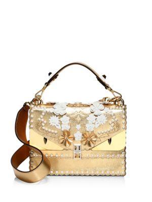 FENDI Kan I Floral Monster Top-Handle Shoulder Bag, Gold at Saks Fifth Avenue