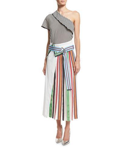DIANE VON FURSTENBERG Pleated Grosgrain-Trimmed Linen-Blend And Georgette Skirt at Neiman Marcus