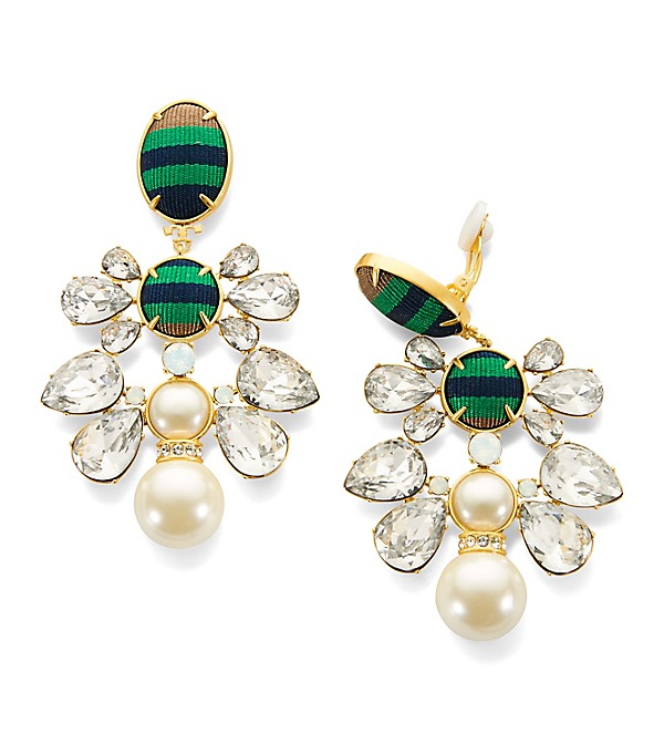 TORY BURCH Vintage Gold W/Crystals And Glass Pearl Ribbon Clip On Earrings