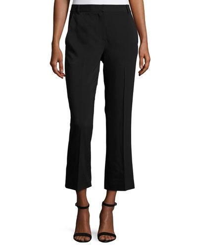T BY ALEXANDER WANG Cropped Stretch Suiting Pants, Black at Neiman Marcus