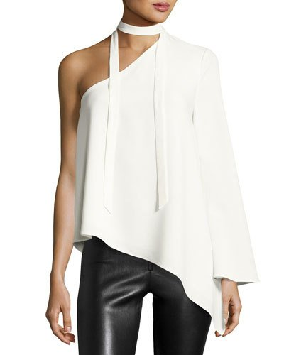 CINQ À SEPT Kiera One-Shoulder Crepe Top, Ivory at Neiman Marcus