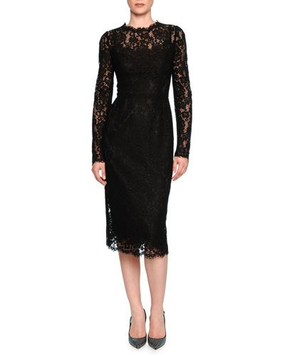 DOLCE & GABBANA Floral-Lace Long-Sleeve Dress, Black at Neiman Marcus
