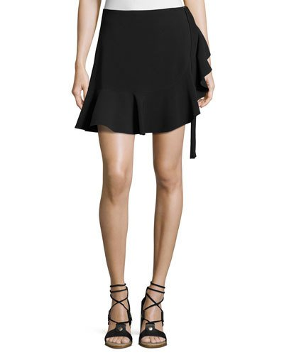 CINQ À SEPT Luella Tie-Side Skort, Black at Neiman Marcus