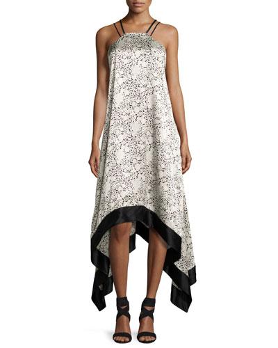 CINQ À SEPT Somiya Sleeveless Handkerchief-Hem Dress, Black/White at Neiman Marcus