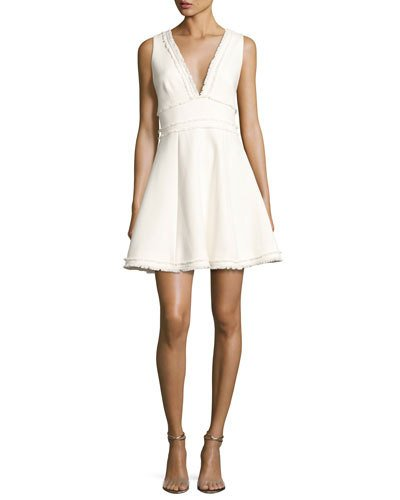 CINQ À SEPT Aurora Fringe-Trim V-Neck Fit & Flare Dress, Ivory at Neiman Marcus