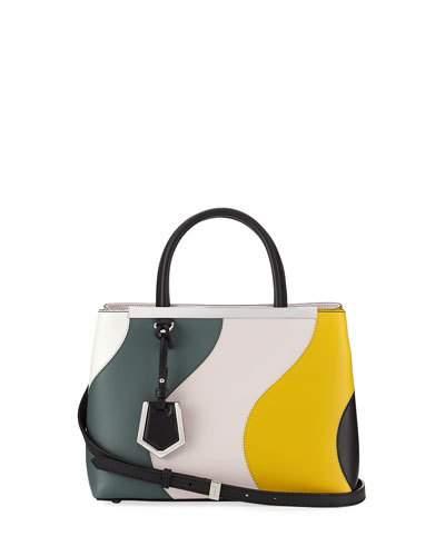 FENDI 2Jours Petite Waves Double-Handle Satchel Bag, White at Neiman Marcus