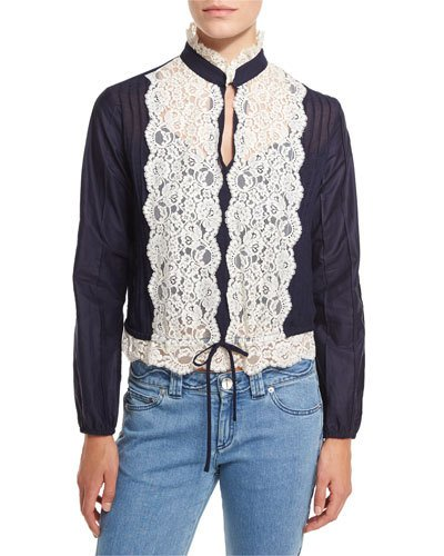 SEE BY CHLOÉ Long-Sleeve Pintucked Lace-Trim Blouse, Navy at Neiman Marcus