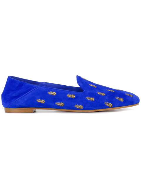 AQUAZZURA 10Mm Pineapple Summer Suede Loafers, Royal Blue at Farfetch