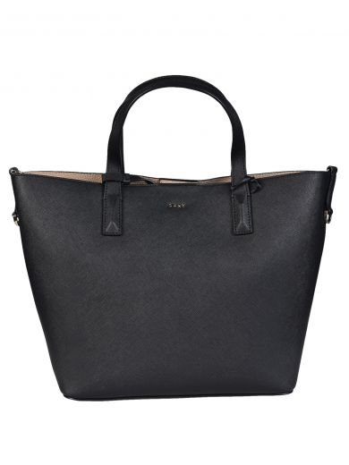 DKNY Logo Plaque Tote in Nero