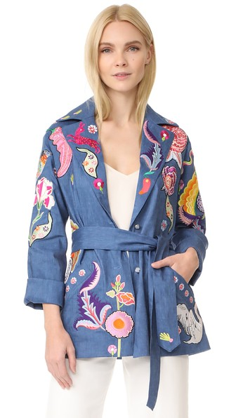 TEMPERLEY LONDON Hermia Embroidered Stretch Linen And Wool-Blend Jacket at Shopbop