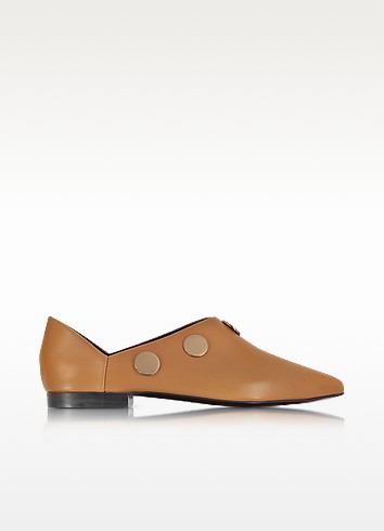 PIERRE HARDY Camel Leather Penny Mule W/Golden Metal Studs at FORZIERI