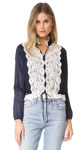 SEE BY CHLOÉ Long-Sleeve Pintucked Lace-Trim Blouse, Navy at Shopbop