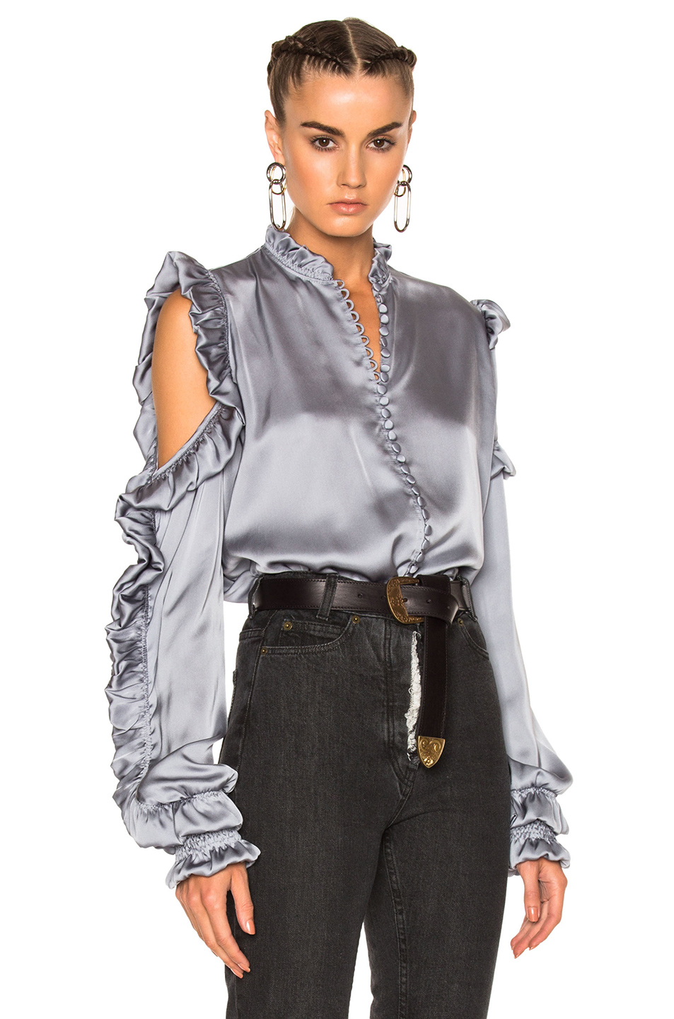 MAGDA BUTRYM Lecce Silk Satin Cold-Shoulder Blouse, Gray at FORWARD