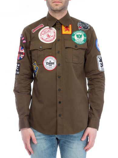 DSQUARED2 Dsquared Patched Military Shirt at Italist.com