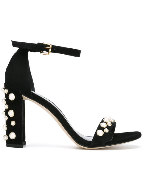 STUART WEITZMAN Morepearls Studded Suede Ankle Strap Sandals at Farfetch