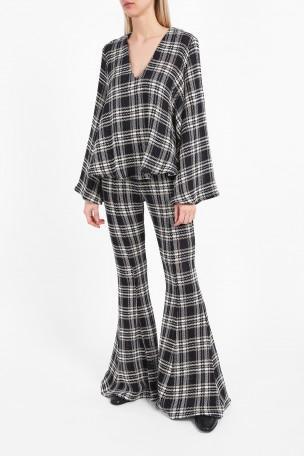 BEAUFILLE Navi Plaid Open-Knit Cotton Flared Pants at Boutique 1
