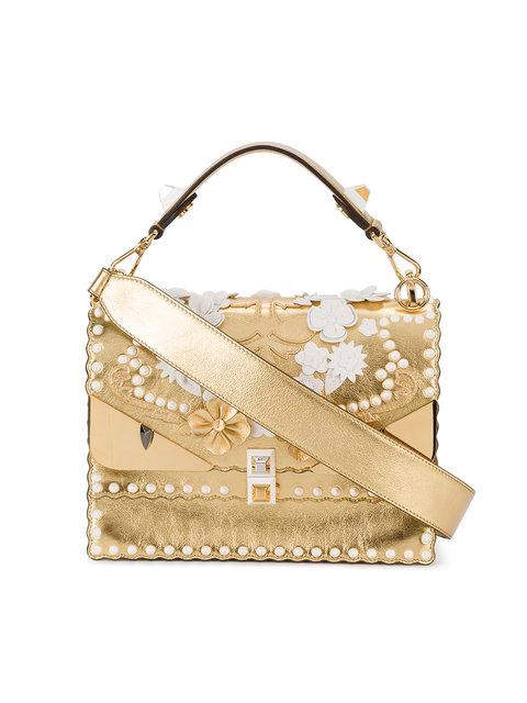 FENDI Kan I Floral Monster Top-Handle Shoulder Bag, Gold at Farfetch