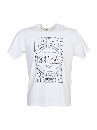 KENZO Whitw Cotton T-Shirt With Front Print in White